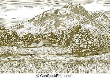 Woodcutová stodola a horská krajina