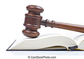 Wooden dall a právnickou knihu