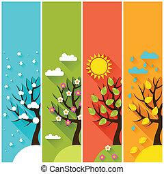 Zákazníci s zimními, jarem, podzimními stromy.