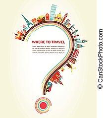 základy, ikona, turistika, otazník, pohybovat se, kam