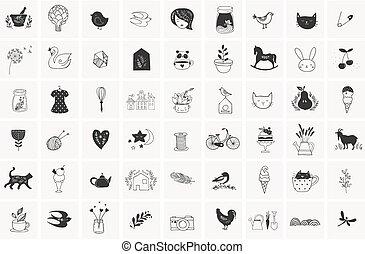 základy, jednoduchý, rukopis, vektor, nahý, doodles, osvětlení