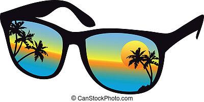 západ slunce, brýle proti slunci, moře