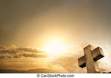 západ slunce, kříž, grafické pozadí