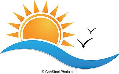západ slunce najet na břeh, emblém