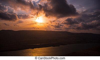 západ slunce, překrásný, xojasan, jezero, ázerbájdžán, baku