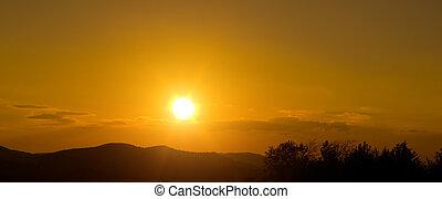 západ slunce, silueta, hory