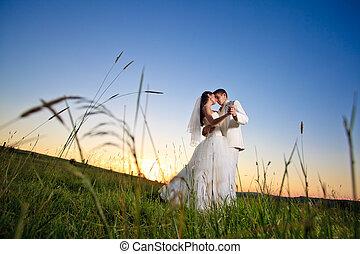 západ slunce, svatba