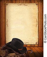 Západní pozadí s kovbojským oblečením a starým papírem