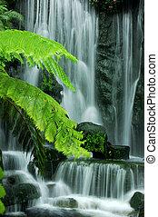 zahrada, vodopády