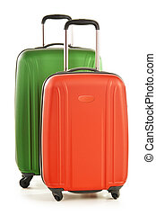 zavazadla, kufříky, osamocený, velký, neposkvrněný, spočívat