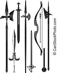 zbraňi, středověký, vybírání