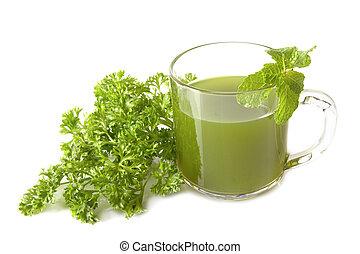 Zdravá zeleninová šťáva s petrželem