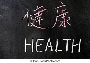 Zdraví v čínštině a anglicky
