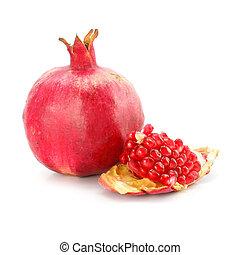 zdravý, granátové jablko, osamocený, strava, ovoce, červeň