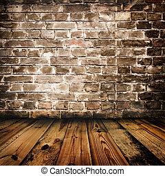Zeď a dřevěná dřevěná