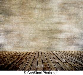 Zeď a dřevěná podlaha