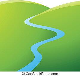 Zelené kopce a modrá řeka