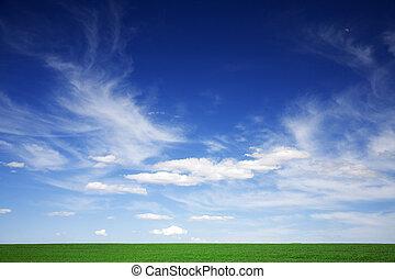 Zelené pole, modré nebe, bílé mraky na jaře