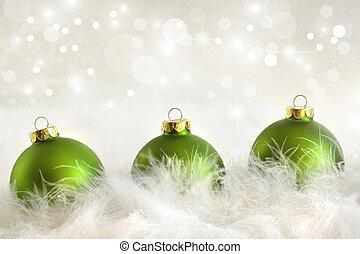 Zelené vánoční plesy s prázdninovým pozadím