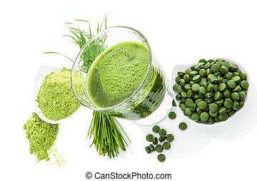 Zelené zdravé jídlo. Detoxové doplňky.