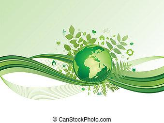 Země a prostředí, ikona, zelená ba