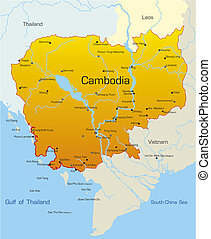 země, kambodža