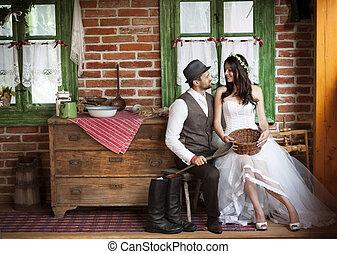 země, móda, čeledín, svatba, nevěsta