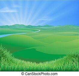 zemědělský krajina, ilustrace