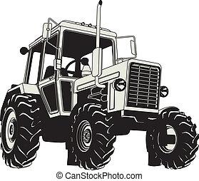 zemědělský, vektor, silueta, traktor
