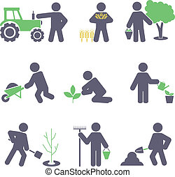 Zemědělství. Nastavte ikony