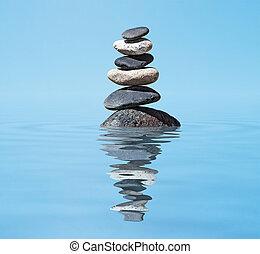Zen meditace - vyvážené kameny ve vodě