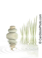zen, pastvina, bambus, oblázek