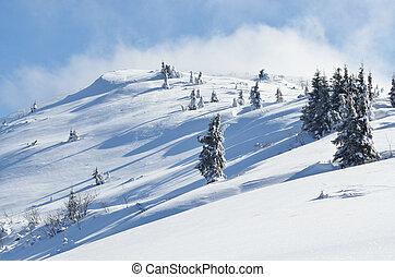 Zima horská krajina s ledem pokrytým sněhem