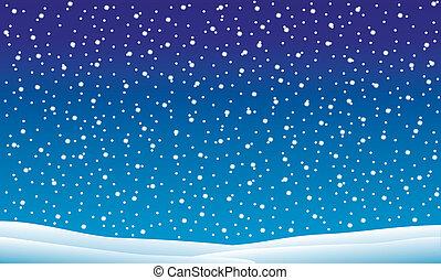 Zima krajina s padáním sněhu
