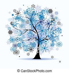 Zima, sněhové vločky. Vánoce.