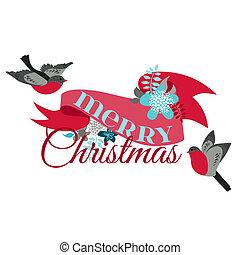 zima, výzdoba, -, ptáci, vektor, design, kniha k nalepování výstřižků, vánoce karta