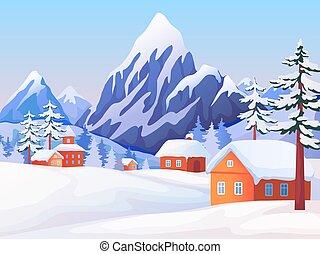 Zima venkovská krajina. Přírodní scéna s horskými vrcholy, dřevěné domy a stromy. Vektor zimní pozadí