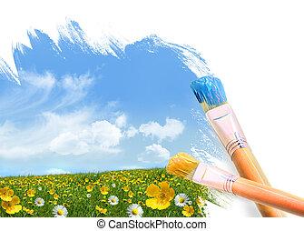 zkusmý přivést do květu, plný, malba, bojiště
