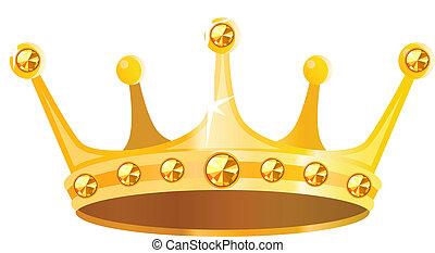 Zlatá koruna s drahokamy izolovaná na bílém pozadí