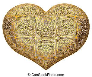 Zlatá srdeční forma s diamanty