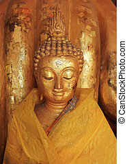 zlatý, čelit, buddhismus, buddha, socha, skulptura, chrám