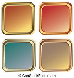 zlatý, bronzovat, (vector), nastrojit co na koho, dát, stříbrný