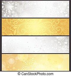zlatý, dát, zima, sklon, stříbřitý, standarta