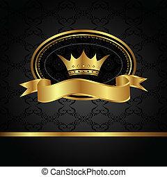 zlatý, konstrukce, královský, grafické pozadí