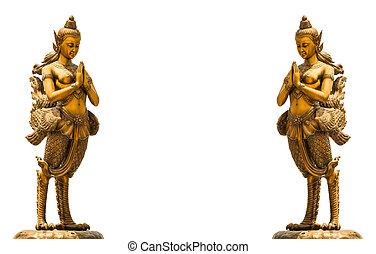 zlatý, socha, kinnari