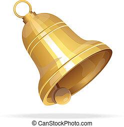 Zlatý vánoční zvonek na bílém pozadí