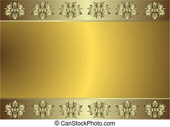 zlatý, (vector), grafické pozadí, jemný, stříbřitý