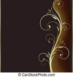 zlatý, základy, ponurý, vkusný, design, grafické pozadí, květinový