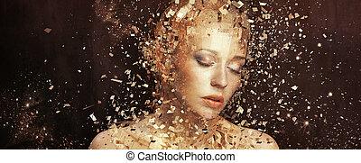 zlatý, základy, umění, splintering, fotografie, manželka, thousands