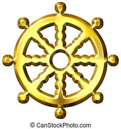 znak, buddhismus, zlatý, dharma, 3, kolo